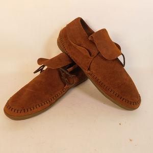 Vans Women's Brown Leather Moccasins 9 CL1782 0919